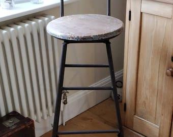 Vintage industrial factory stool. Vintage workshop stool. (1492)