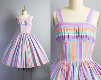 1950s Striped Cotton Dress/ XS (32B/24W