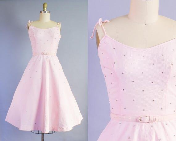 1950s Pink Cotton Pique Rhinstone Studded Sundress   XS (32B/25W)