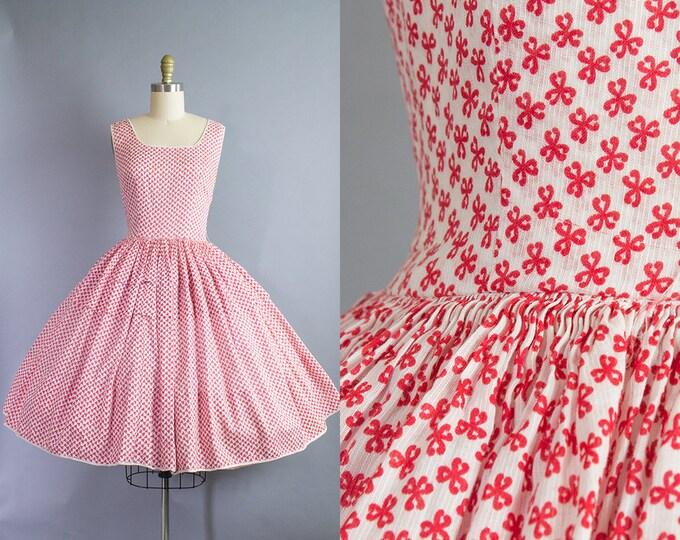 1950s Bow Print Sundress/ Small (34b/26w)