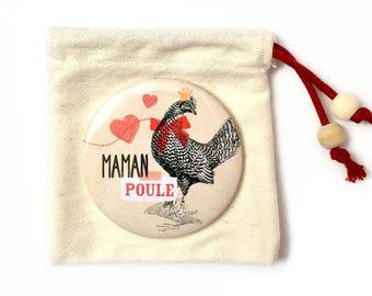"""Miroir de poche et sa pochette """"maman poule"""" 58 mm"""