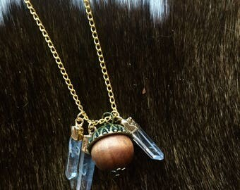 Crystal Points & Acorn Necklace