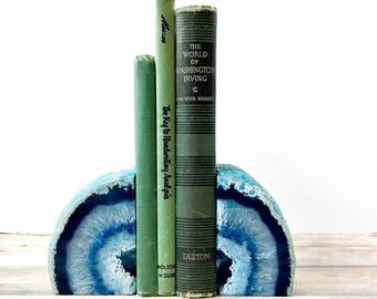 Agate Bookends Geode Bookends - Blue Agate Bookends