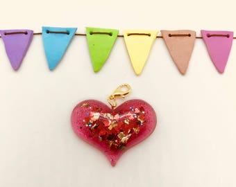 Enchanted Gold Foil Heart Charm