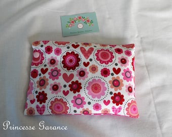 Heating pad flaxseed, organic, cotton, pink flowers, hearts, in STOCK