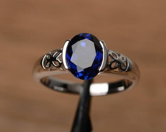 lab sapphire ring promise wedding ring oval cut gemstone sterling silver ring solitaire blue September birthstone gemstone ring