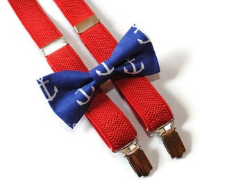 anchor bow tie suspenders nautical wedding nautical ring bearer outfit will you be my ring bearer gift wedding gift Jr groomsman gift ideas