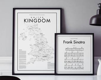 Minimalistic United Kingdom Map Poster, Black & White Minimalistic Print Poster, Art, Home Art, Minimal Graphics, Map Home Decor