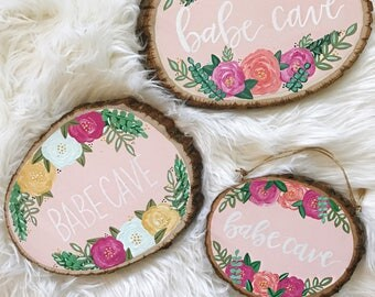 BABE CAVE // Bohemian Floral + Greenery Sign, Nursery Sign, Play Room Sign