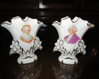 GEORGE and MARTHA WASHINGTON Vases