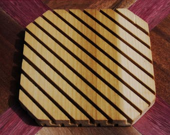 "SALE! Tulip Poplar ~6"" Wood Trivet, Multiple Species Available, Hot Plate, Wooden Trivet, Home Decor, Table Decor, Wood, Handmade"