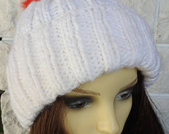 Hand Knitted Women's White Two Style Winter Hat With A pompom In The Colours Of The Italian Flag - Free Shipping