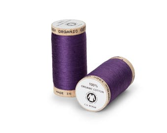 Grape Purple Organic Cotton Thread 300 yards-  Eco-Friendly Thread - 100% Organic Cotton Thread