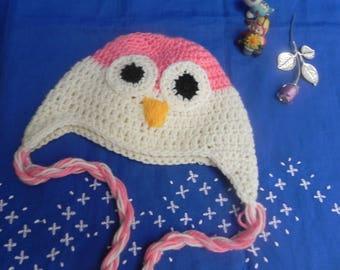 Crochet Hat beanie baby baby OWL made wool blend