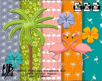 FLAMINGOS Digital Paper, Printable pdf, Flamingo Clipart, Tropical Flowers, Palm Trees, Pink Flamingos, INSTANT DOWNLOAD