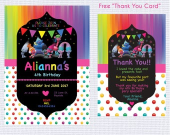 """Professionally Printed Troll Birthday Invitation """"Plus FREE Thank you Card"""". Also available as a Printable JPEG File!"""