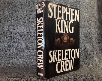 Skeleton Crew Stephen King Hardcover Book With Dustjacket Gift for Horror Novel Fan, 1985, Monkey With Cymbals, The Mist, Sci Fi Horror