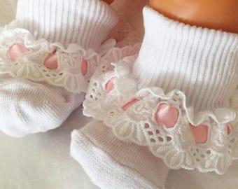 Easter Socks Baby Socks Valentines Day Socks Lace Socks Infant Socks Frilly Socks Little Girl's Sock Toddler Sock Christening Sock Baby Gift