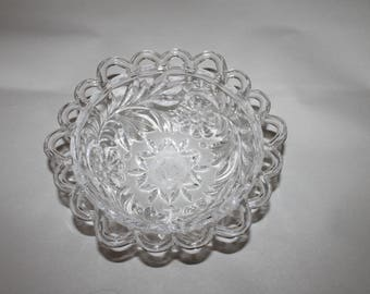Vintage Small Dish, Bowl, Beveled & Pierced Edges, Gorgeous, Nice Piece of a Set Possibly, Depression Glass, Laced Edging