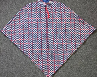 Unique Vintage Hand Made/Homemade Knitted Women's Shawl, One Size, Red/White/Blue from the 1950s/1960s