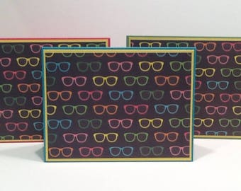 Sunglasses Card Set of 3 - Blank Card Set with Sunglasses - Colorful Note Card Assortment  - Summer Card Set - Thank You Greeting Card Set