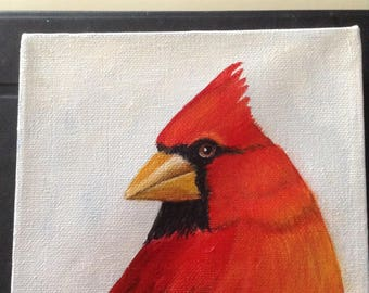 """Cardinal acrylic painting on canvas . The size is 6"""" x6"""" . The edge is 1 3/4"""" thick. 27.00"""
