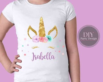 Personalized, Unicorn Birthday Iron on  DIGITAL FILE ONLY  *  You Print At Home