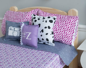 Z doll bedding, doll bedding set, photography bedding, camera, pink and purple, dalmatian pillow, camera pillow, jean bedding set