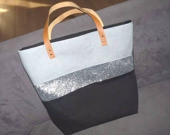 Black tote bag band silver sequins, camel leather handles