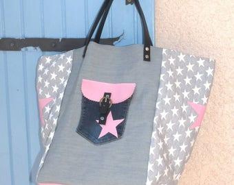 grey/pink designer patchwork tote bag / jeans, Pocket, stars