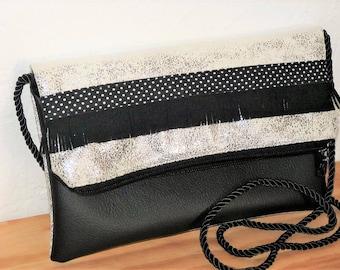 shoulder bag in antique silver leather, black leather, fringe, polka dot reversible folding