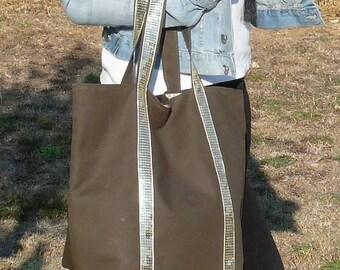 style tote bag vanessa bruno khaki canvas / glitter gold sequins
