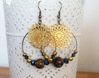 Earrings ' hoop earrings gold/bronze / copper Brown with rose gold and iridescent dark blue beads