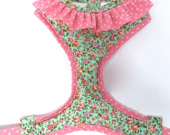 Pink and Green Floral Dog Harness w/ Pink Polka Dot Ruffle