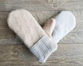 Best Cashmere Sweater Mittens // Wedding Mittens /Womens Sweater Mittens // Fleece Lined mittens // Cream