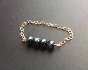Ring chain small black swarovski on a chain or gold filled