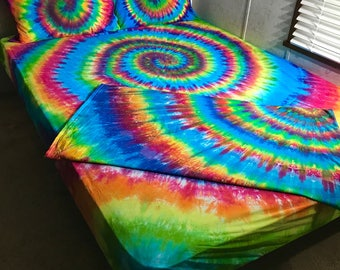 Tie Dye Sheet Set - 4 Piece Tie Dye Sheet Set - Custom Made Tie Dye Bedding - Tie Dye Sheet Set - Tie Dye Bed Sheets