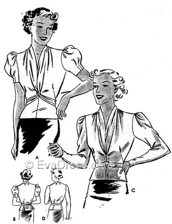 1930s Fashion Colors & Fabric 1936 Blouse Pattern by EvaDress $17.00 AT vintagedancer.com