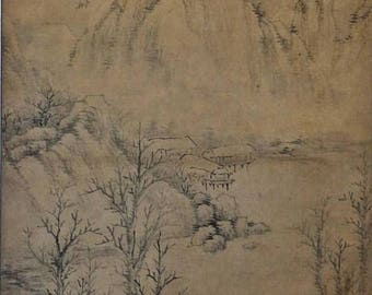 Yuan Dy. (1260-1368) Master Huang Jin黄溍 Chinese landscape silk / fiber charcoal painting scroll fine painted two scholars singing poem