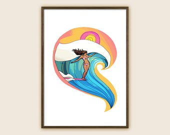"Surf Art Print - Beach Art - Ocean Art - Sea Art - Surf Girl - ""Enjoy the Joyride"""