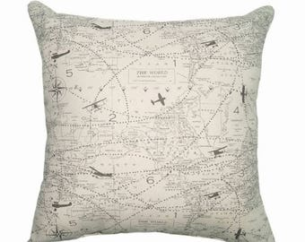 SALE Throw Pillow, Map Pillow Cover, Decorative Pillow, Map Sham Cover, Natural and Grey Sham Pillow Cover, Air Traffic Felix Sham Pillow Ca
