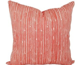 SALE Coral Throw Pillow - Coral Stripe Decorative Throw Pillow Cover - Scribble Coral Accent Pillow Cover - Coral Pillow - Coral and White P
