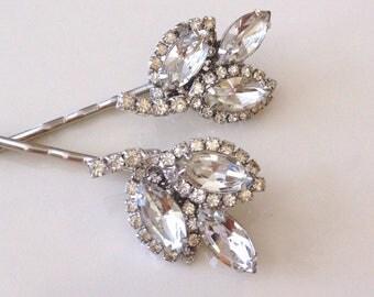 Art Deco rhinestone leaf hair pins, Authentic Vintage, something old, wedding hair pins, 1920s weddings, paste, pair, antique, bobby pins