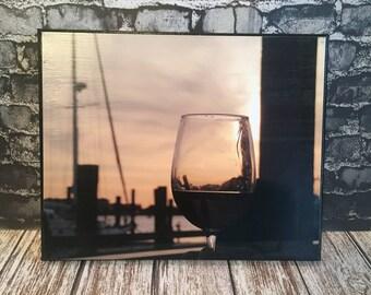 Wine print - wine lover gift - Beach lovers gift - coastal decor - beach photography - beach sunset photo - beach sunset print - wine photo