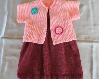 knit set, dress, Burgundy, and bolero, pink, hand knitted