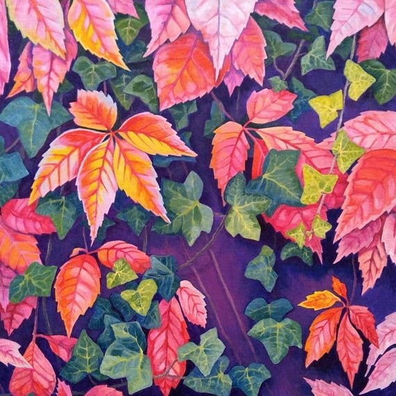 On the Vine, original painting in acrylic of autumn leaves