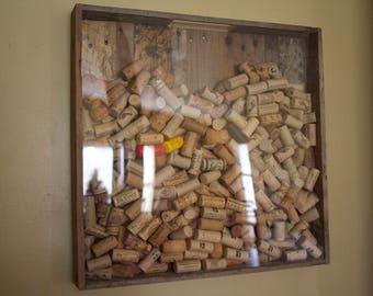 Large Wall Hanging Cork Holder - Pallet Wood / Plexiglass