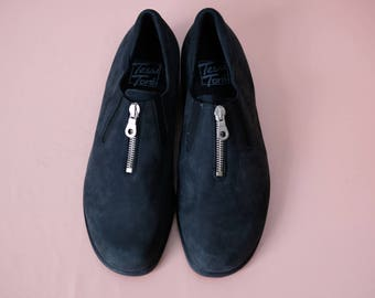90s suede leather loafers flats black zipper EU39 UK 6 US 8