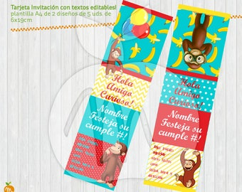 Printable editable texts invitation card sign Curious George! Happy birthday! INSTANT DOWNLOAD!