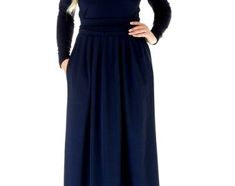 Maxi Womens Dress Round Neckline Long Sleeves Pockets Sash Plain Navy Blue